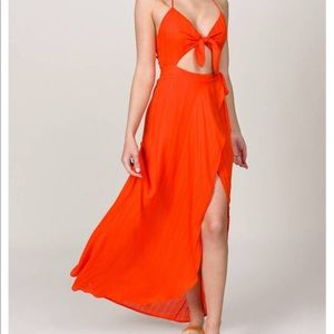 Tobi red orange maxi halter dress
